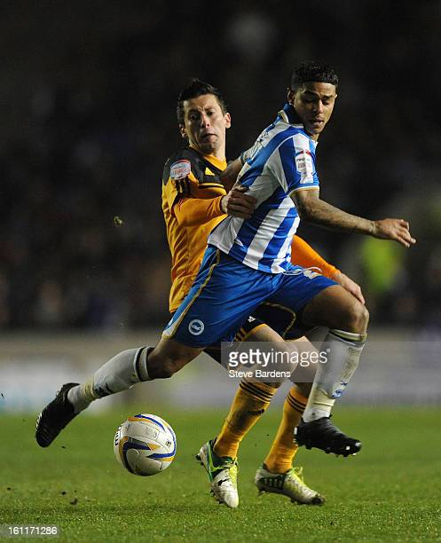Liam Birdcutt of Brighton Hove Albion challenges for the ball with Robert Koren of Hull City during the npower Championship match between Brighton...