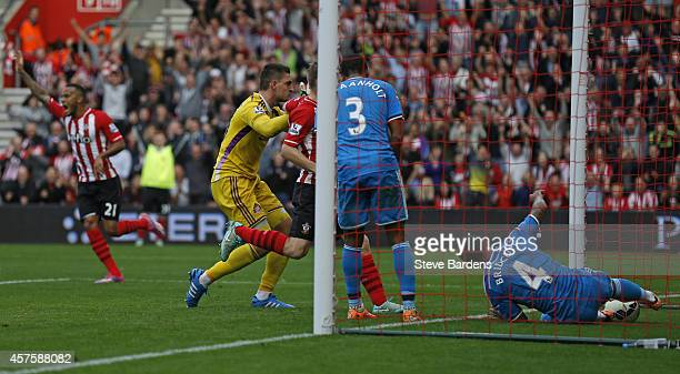 Liam Birdcutt of Sunderland scores an own goal to give Southampton their fourth goal during the Barclays Premier League match between Southampton and...