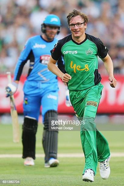 Liam Bowe of the Stars celebrates a wicket to dismiss Ben Dunk of the Strikers during the Big Bash League match between the Melbourne Stars and the...