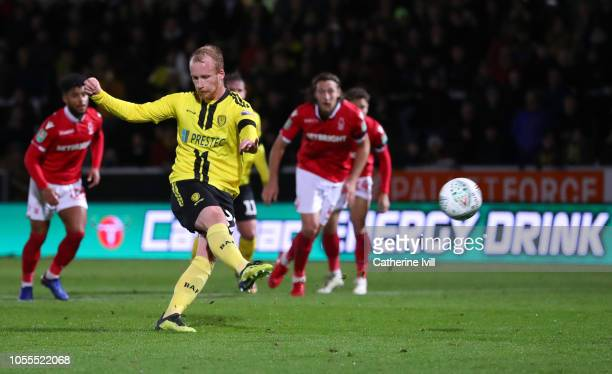 Liam Boyce of Burton Albion misses a penalty during the Carabao Cup Fourth Round match between Burton Albion and Nottingham Forest at Pirelli Stadium...