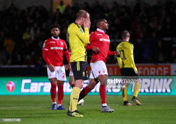 Liam Boyce of Burton Albion reacts as he misses a penalty during the Carabao Cup Fourth Round match between Burton Albion and Nottingham Forest at...