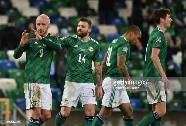 Liam Boyce of Northern Ireland celebrates with Stuart Dallas after scoring their team's first goal during the UEFA Nations League group stage match...