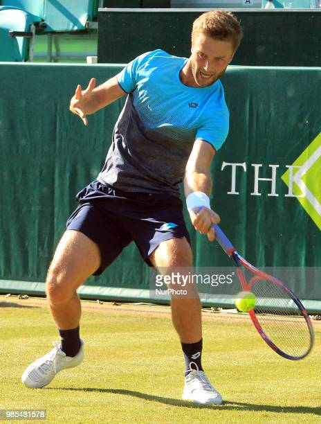 Liam Broady during his match against Benoit Paire day one of The Boodles Tennis Event at Stoke Park on June 26 2018 in Stoke Poges England