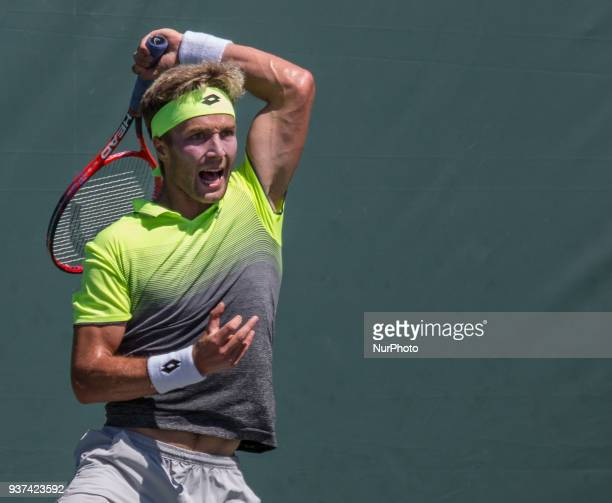 Liam Broady from Great Britain in action against Flip Krajinovic from Serbia Krajinovit defeated Broady 63 62 in Miami on March 23 2018