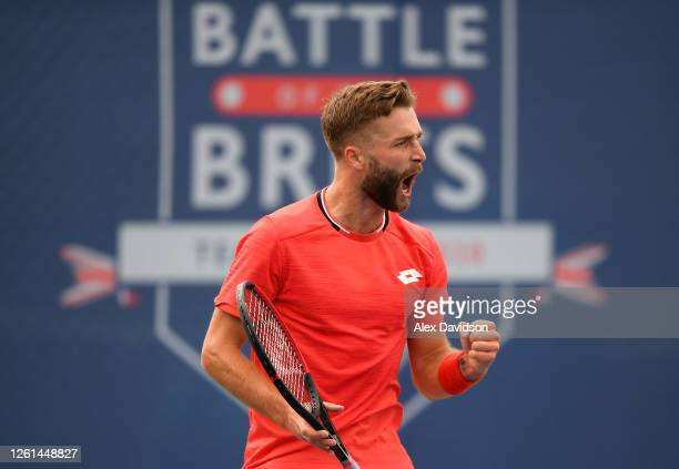 Liam Broady of British Bulldogs celebrates in his singles match against Anton Matsuveich during day two of the St James's Place Battle Of The Brits...