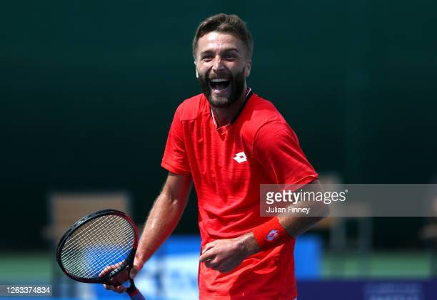 Liam Broady of British Bulldogs celebrates in his singles match against Ryan Peniston of Union Jacks during day seven of the St James's Place Battle...