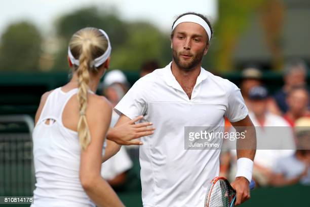 Liam Broady of Great Britain and Naomi Broady of Great Britain celebrate during the Mixed Doubles first round match against Roman Jebavy of the Czech...
