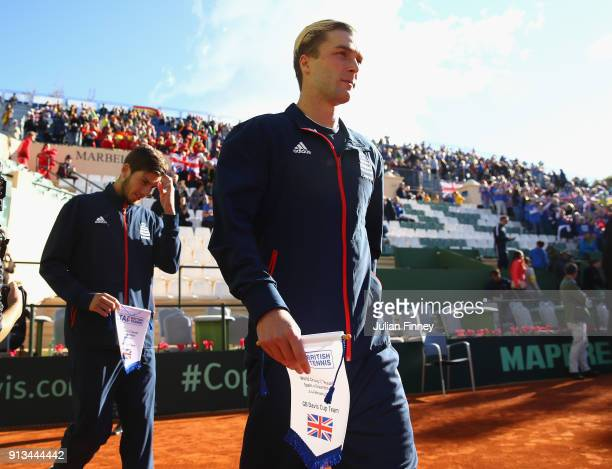 Liam Broady of Great Britain arrives on court during day one of the Davis Cup World Group first round match between Spain and Great Britain at Club...