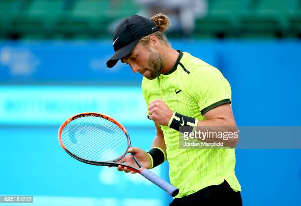 Liam Broady of Great Britain celebrates a game during his first round match against Illya Marchenko of Ukraine during day one of the Aegon Open at...
