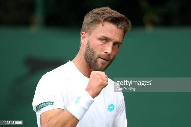Liam Broady of Great Britain celebrates a point during his mens singles match against Tallon Greikspoor of The Netherlands during qualifying prior to...