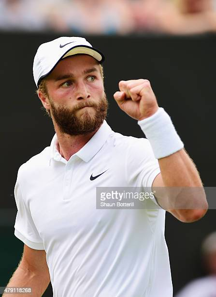 Liam Broady of Great Britain celebrates a point in his Gentlemens Singles Second Round match against David Goffin of Belgium during day three of the...