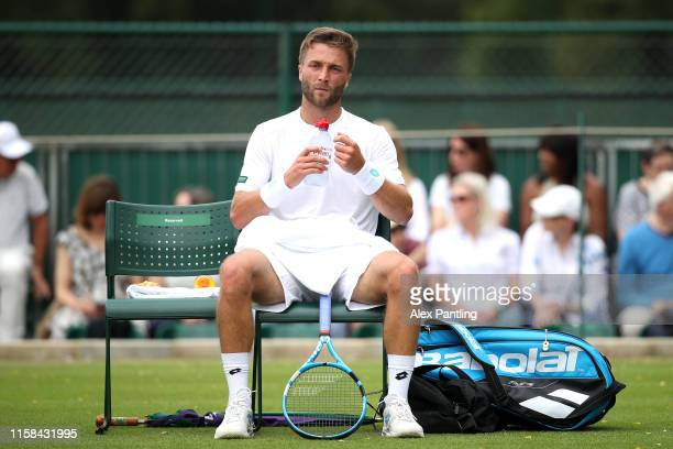Liam Broady of Great Britain during his mens singles match against Tallon Greikspoor of The Netherlands during qualifying prior to The Championships...