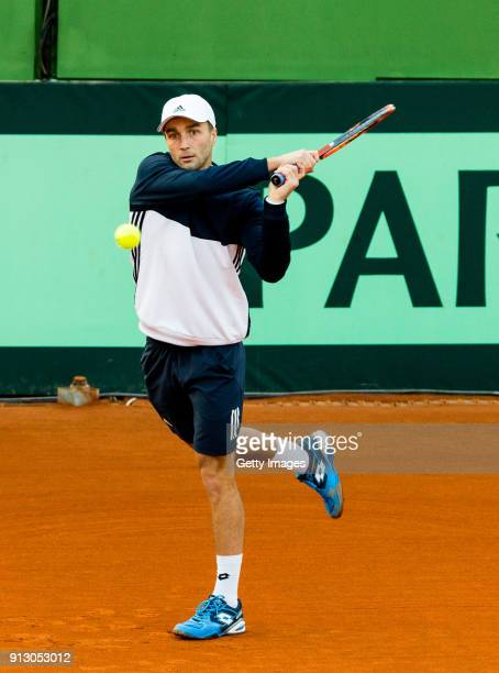 Liam Broady of Great Britain hits a forehand during practice ahead of the Davis Cup by BNP Paribas World Group First Round match between Spain and...