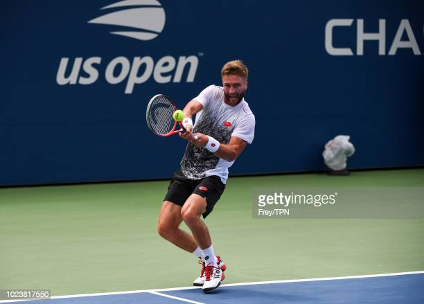 Liam Broady of Great Britain in action during his qualifying match against Jay Clarke of Great Britain for a place in the main draw of the US Open at...