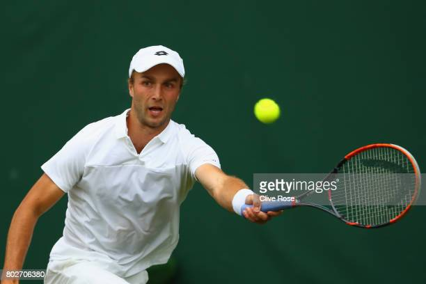 Liam Broady of Great Britain in action during his singles qualifying match against Marcus Willis of Great Britain during the 2017 Wimbledon...