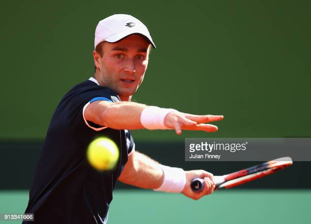 Liam Broady of Great Britain in action in his match against Albert RamosVinolas of Spain during day one of the Davis Cup World Group first round...