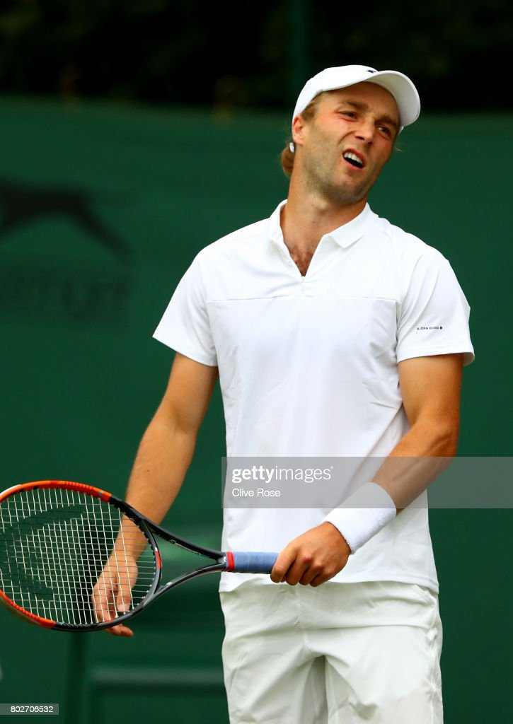 Liam Broady of Great Britain reacts during his singles qualifying match against Marcus Willis of Great Britain during the 2017 Wimbledon qualifying session on June 28, 2017 in London, England.