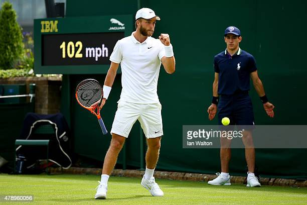 Liam Broady of Great Britain reacts in his Gentlemen's Singles match against Marinko Matosevic of Australia during day one of the Wimbledon Lawn...