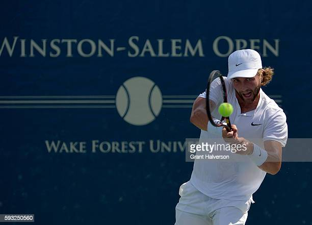 Liam Broady of Great Britain returns a shot to Yoshihito Nishioka of Japan during the WinstonSalem Open at Wake Forest University on August 21 2016...