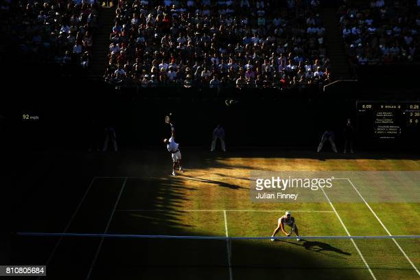 Liam Broady of Great Britain serves during the Mixed Doubles first round match with Naomi Broady of Great Britain against Roman Jebavy of the Czech...