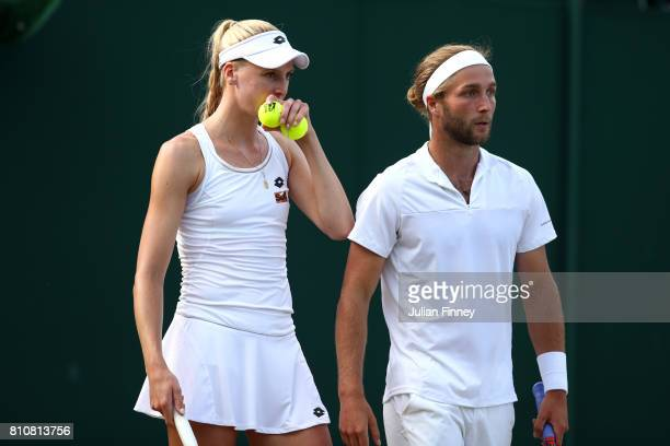 Liam Broady of Great Britain speaks to Naomi Broady of Great Britain during the Mixed Doubles first round match against Roman Jebavy of the Czech...