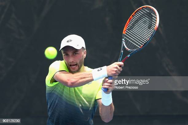 Liam Broady of United Kingdom competes in his first round match against Matteo Berrettini of Italy during 2018 Australian Open Qualifying at...