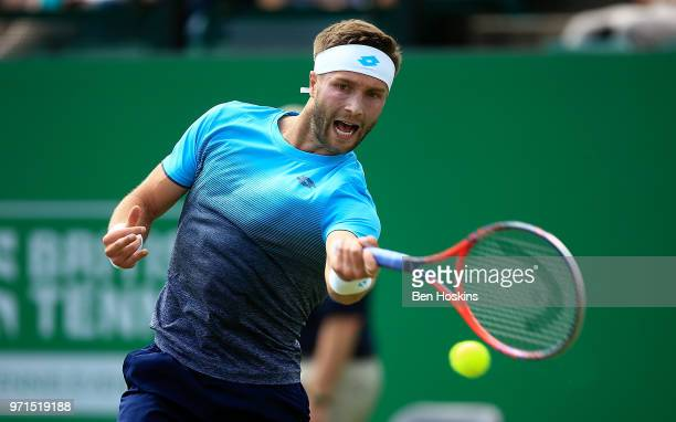 Liam Brody of Great Britain hits a forehand during his qualifying match against Alexander Ward of Great Britain on Day Three of the Nature Valley...