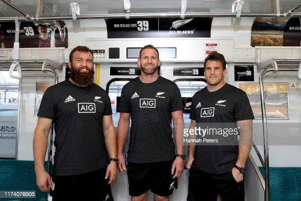 Liam Coltman, Kieran Read and Matt Todd of the All Blacks host Japanese media on a train to the launch of the New Zealand Says 39 campaign on...