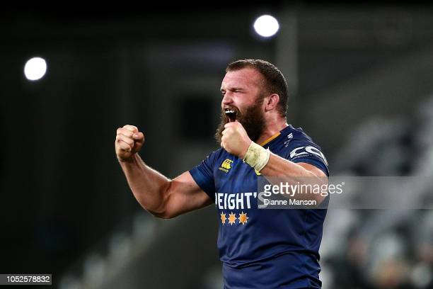 Liam Coltman of Otago celebrates their victory during the Mitre 10 Cup Championship Semi Final match between Otago and Hawke's Bay on October 20,...