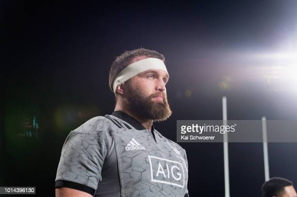 Liam Coltman of the All Blacks runs out prior to the Game of Three Halves between the New Zealand All Blacks and Otago at AMI Stadium on August 10...