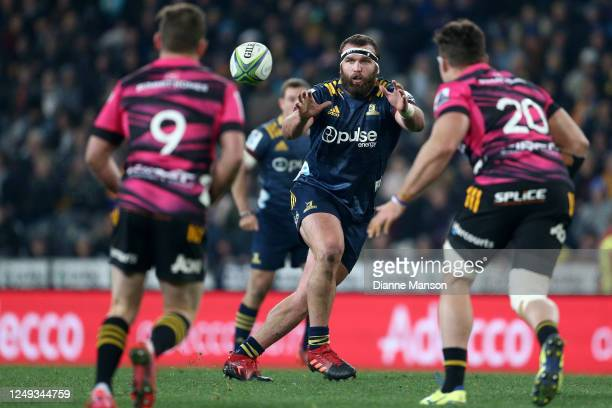 Liam Coltman of the Highlanders receives the ball during the round 1 Super Rugby Aotearoa match between the Highlanders and Chiefs at Forsyth Barr...