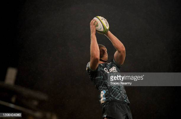 Liam Coltman of the Highlanders takes a line out during the round 3 Super Rugby match between the Brumbies and the Highlanders at GIO Stadium on...