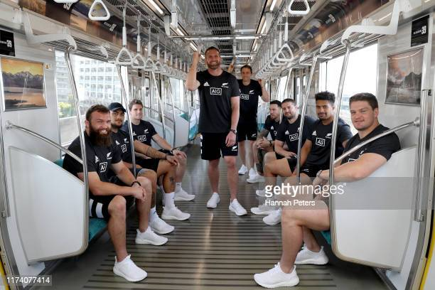 Liam Coltman, Ofa Tuungafasi, Matt Todd, Kieran Read, Ben Smith, Sonny Bill Williams, Dane Coles, Ardie Savea and Scott Barrett of the All Blacks...