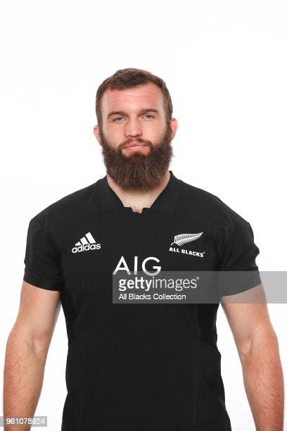 Liam Coltman poses during a New Zealand All Blacks headshots session on May 21 2018 in Auckland New Zealand