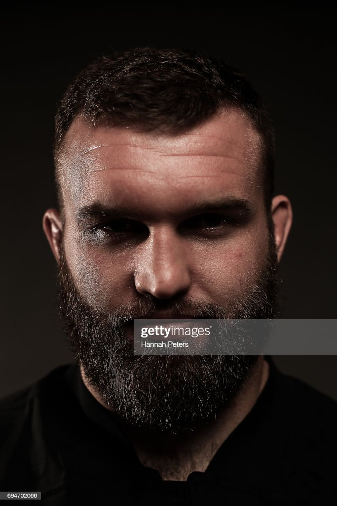 Liam Coltman poses for a portrait during the New Zealand All Blacks Headshots Session on June 11, 2017 in Auckland, New Zealand.