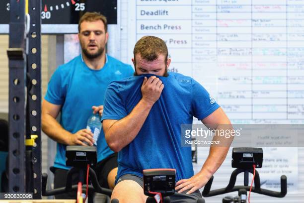 Liam Coltman works out during a New Zealand All Blacks gym session at the Apollo Projects Centre high performance training facility on March 12 2018...