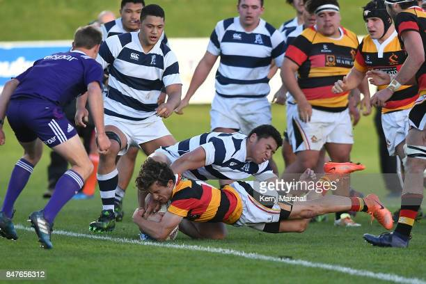 Liam CoombesFabling of Waikato scores a try during the Jock Hobbs Memorial Tournament match between Waikato and Auckland on September 16 2017 in...