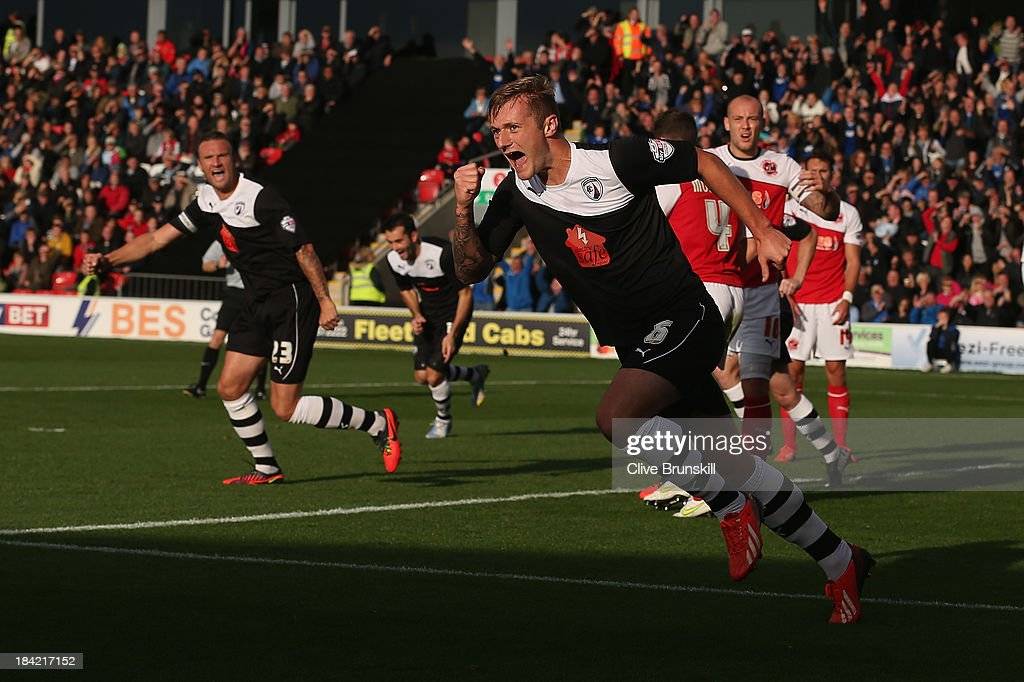 Liam Cooper of Chesterfield celebrates after scoring the first goal during the Sky Bet League Two match between Fleetwood Town and Chesterfield at Highbury Stadium on October 12, 2013 in Fleetwood, England,
