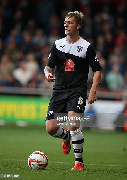 Liam Cooper of Chesterfield in action during the Sky Bet League Two match between Fleetwood Town and Chesterfield at Highbury Stadium on October 12,...