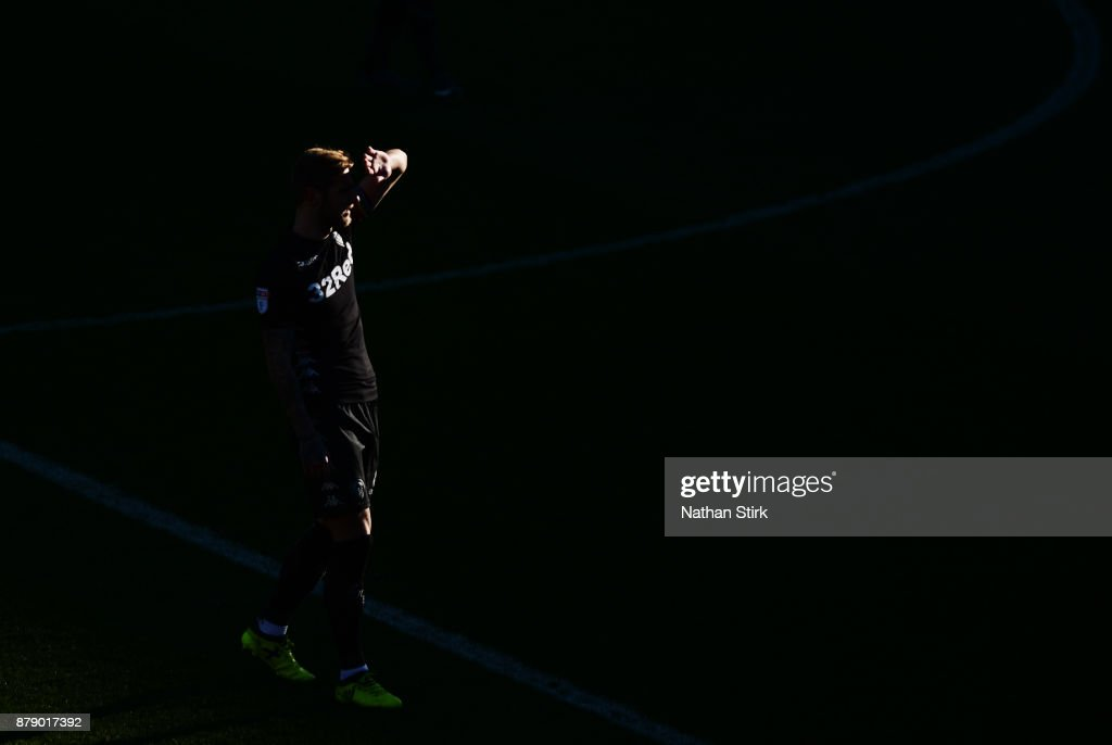Liam Cooper of Leeds United looks on during the Sky Bet Championship match between Barnsley and Leeds United at Oakwell Stadium on November 25, 2017 in Barnsley, England.