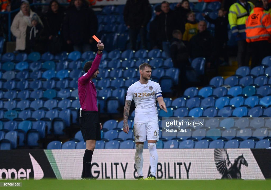 Liam Cooper of Millwall is sent off during the Sky Bet Championship match between Leeds United and Millwall at Elland Road on January 20, 2018 in Leeds, England.