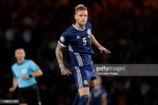 Liam Cooper of Scotland during the EURO Qualifier match between Scotland v Russia at the Hampden Park on September 6, 2019 in Glasgow United Kingdom