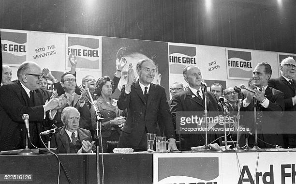 Liam Cosgrave addressing the Fine Gael Ard Fheis On left are James Dillon and former Taoiseach John A Costello Circa May 1971
