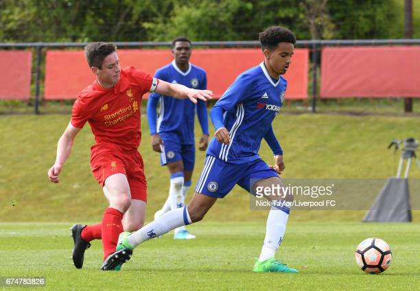 Liam Coyle of Liverpool and Jacob Maddox of Chelsea in action during the Liverpool v Chelsea U18 Premier League game at The Kirkby Academy on April...