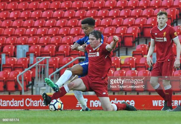 Liam Coyle of Liverpool and Jacob Maddox of Chelsea in action during the Premier League 2 match between Liverpool and Chelsea at Anfield on May 8...