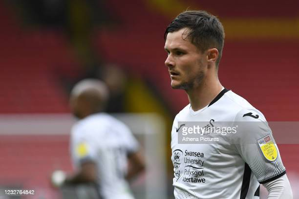 Liam Cullen of Swansea City during the Sky Bet Championship match between Watford and Swansea City at Vicarage Road on May 08, 2021 in Watford,...