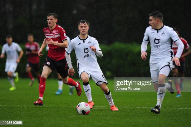 Liam Cullen of Swansea City u23 in action during the Premier League 2 Division Two match between Swansea City u23s and Middlesbrough u23s at Swansea...