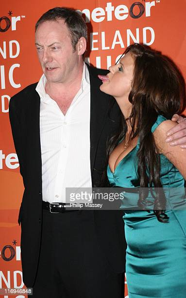 Liam Cunningham and Kerry Katona during Meteor Ireland Music Awards 2006 Press Room at The Point in Dublin Ireland