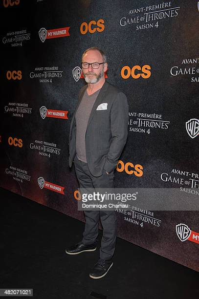 Liam Cunningham attends the 'Game of Thrones Season 4' Paris premiere at Le Grand Rex on April 2 2014 in Paris France