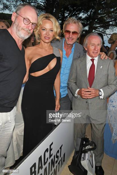 Liam Cunningham Pamela Anderson Eddie Irvine and Sir Jackie Stewart attend the Amber Lounge Fashion Monaco 2017 at Le Meridien Beach Plaza Hotel on...